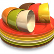 Set of color porcelain plates and coffee cups — Stock Photo