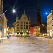 Night scenery of the Old Town in Copenhagen, Denmark — Stock Photo #8010437