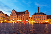 Town Hall Square in the Old Town in Tallinn, Estonia — Stock Photo