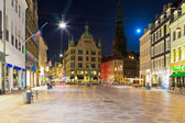 Night scenery of the Old Town in Copenhagen, Denmark — Stock fotografie