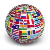 Wereldbol met vlaggen van de wereld — Stockfoto