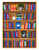 Wooden bookcase with lot of color books — Stock Photo