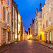 Evening street in the Old Town in Tallinn, Estonia - Stock Photo