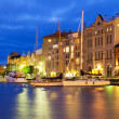 NIght scenery of the Old Town in Helsinki, Finland — Stock Photo