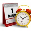 Desktop calendar and alarm clock — Stockfoto