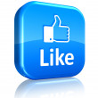 Social network concept: blue Like button — Foto Stock