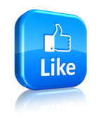 Social network concept: blue Like button — Stock Photo