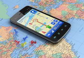 Smartphone with GPS navigation on world map — Stock Photo