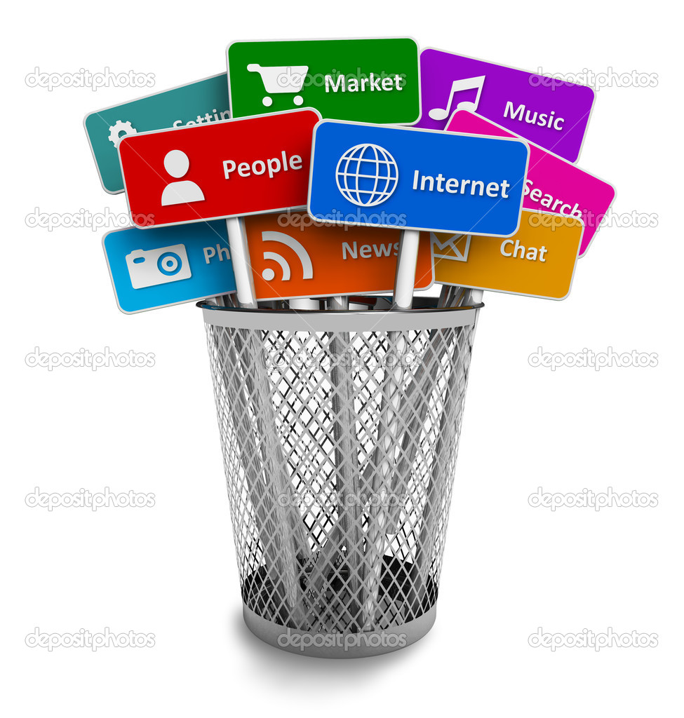 Internet and social media concept: set of color signs with icons of internet and social media services in office bucket isolated on white background — Stock Photo #8311221