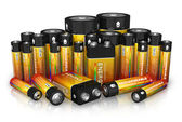 Group of different size batteries — Stock Photo