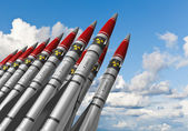 Nuclear missiles against blue sky — Stock Photo