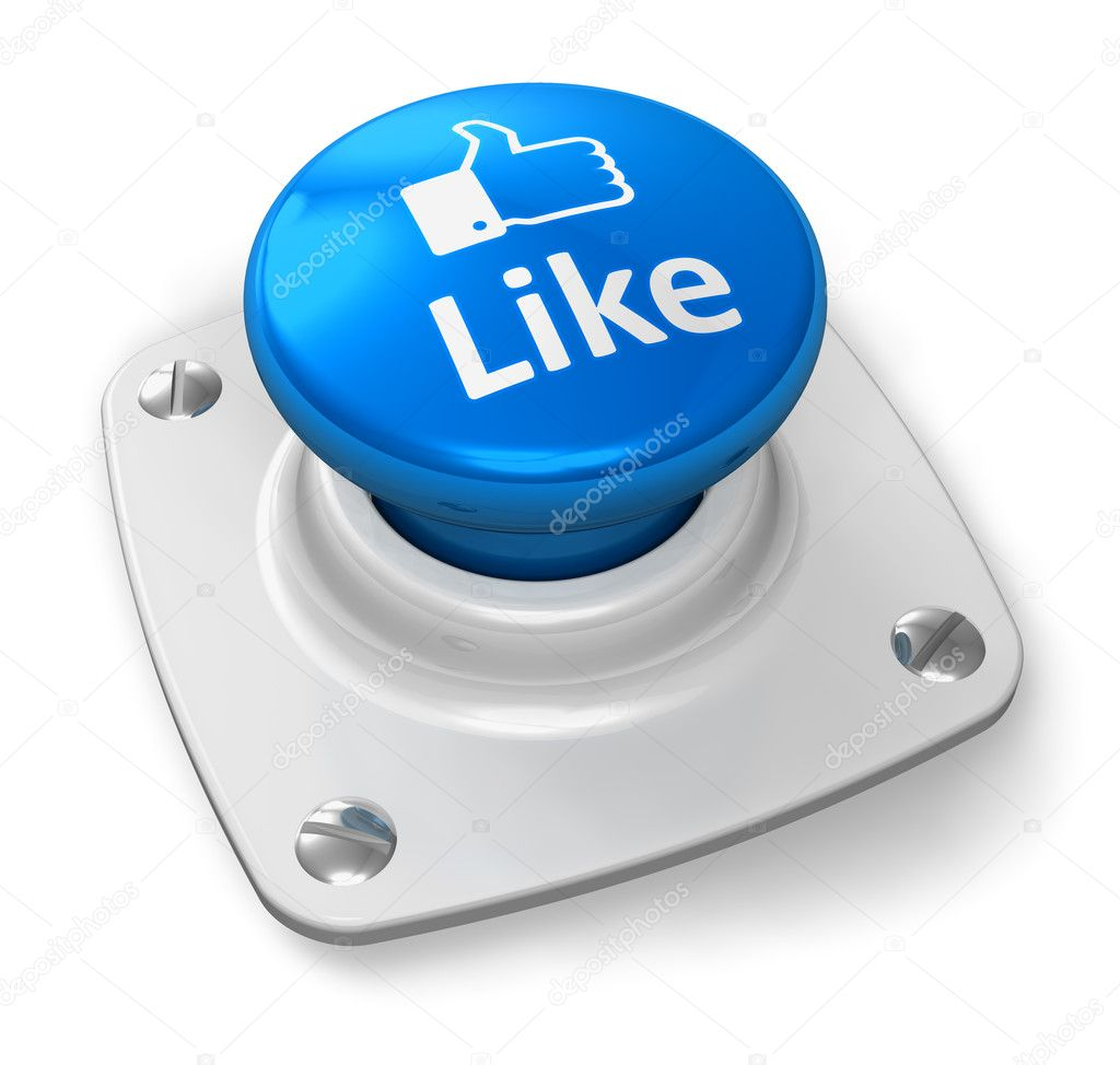 Social media and network concept: blue Like button isolated on white background  Zdjcie stockowe #8417608
