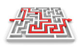 Red path across labyrinth — Stock Photo