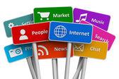 Internet et le concept de médias sociaux — Photo