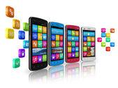 Comunicações móveis e o conceito de rede social — Foto Stock