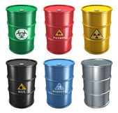Set of metal barrels — Stock Photo
