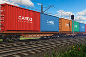 Freight train with cargo containers — Stok fotoğraf