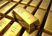 Zeilen von goldbarren — Stockfoto