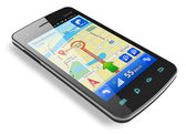 Smartphone with GPS navigation — Stock Photo