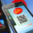 smartphone scanning qr code — Stock Photo #8833763