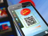 Smartphone scanning QR code — Stock Photo