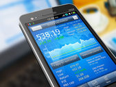 Stock market application on smartphone — Stock Photo