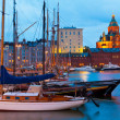 Evening scenery of the Old Port in Helsinki, Finland - Stock Photo
