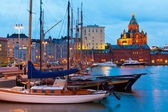 Evening scenery of the Old Port in Helsinki, Finland — Stock Photo