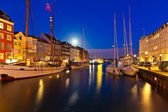 Night scenery of Nyhavn in Copenhagen, Denmark — Stok fotoğraf