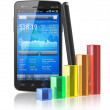Smartphone with stock market application and bar chart — Stock Photo