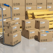 Storage warehouse with packaged goods - Stock Photo