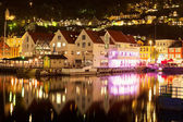 Night scenery of Bergen, Norway — Stock Photo