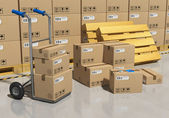 Storage warehouse with packaged goods — Stock Photo
