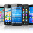 Set of touchscreen smartphones - Stock Photo