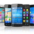 Stock Photo: Set of touchscreen smartphones
