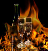 Champagne in flame — Stockfoto