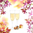 Stock Photo: Champagne and orchid