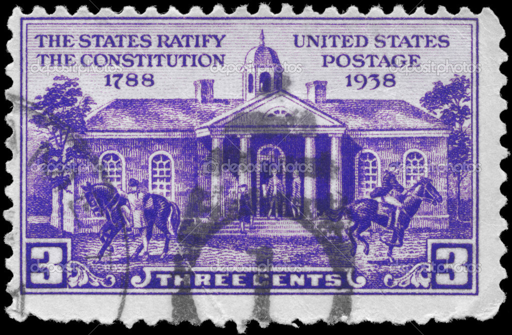 USA - CIRCA 1938: A Stamp printed in USA shows Old Capitol, Iowa City, Centenary of Iowa Territory, circa 1938 — Stock Photo #10038712