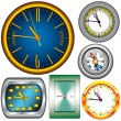 Set of 5 Clocks and Compass — Stock Vector