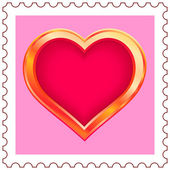 Gold Heart Stamp — Stock Vector