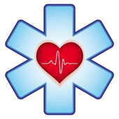 Heart on cross — Stock Vector