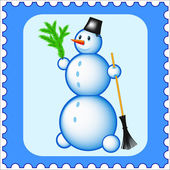 Snowman stamp icon — Stock Vector