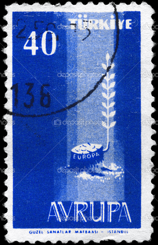TURKEY - CIRCA 1958: A Stamp printed in TURKEY shows the image symbolizing New Europe, series, circa 1958 — Stock Photo #8507100