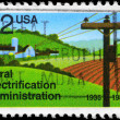 USA - CIRCA 1985 Rural Electrification - Foto Stock