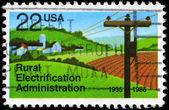 Usa - ca. 1985 elektrifizierung des ländlichen raums — Stockfoto
