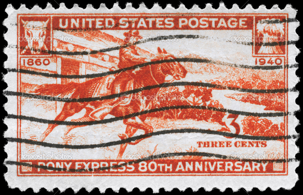 USA - CIRCA 1940: A Stamp printed in USA devoted to 80th anniv. of the Pony Express, circa 1940  Stock Photo #9447349
