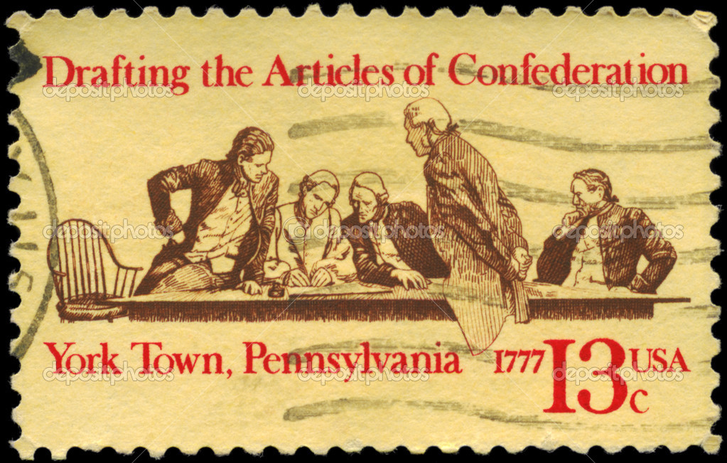 USA - CIRCA 1977: A Stamp printed in USA devoted to 200th anniversary of drafting the Articles of Confederation, York Town, Pennsylvania, circa 1977  Stock Photo #9448096