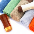 Towels and shampoo bottles - Foto Stock