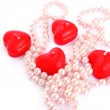 Red candles and necklace — Stock Photo