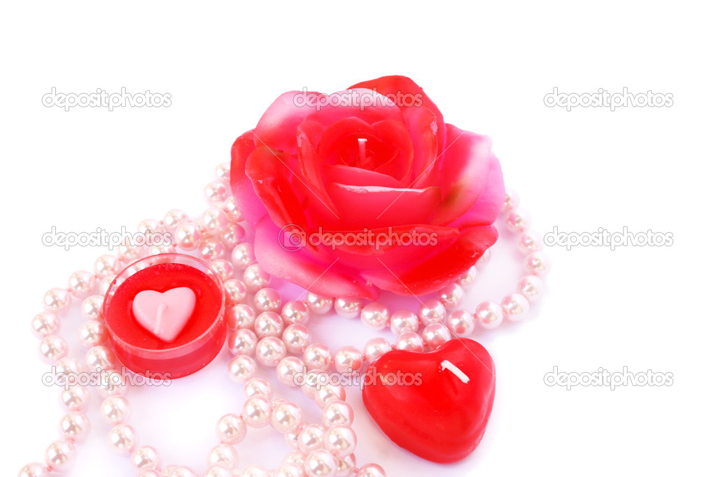 Heart and rose shape red candles, necklace isolated on white background. — Stock Photo #8079927